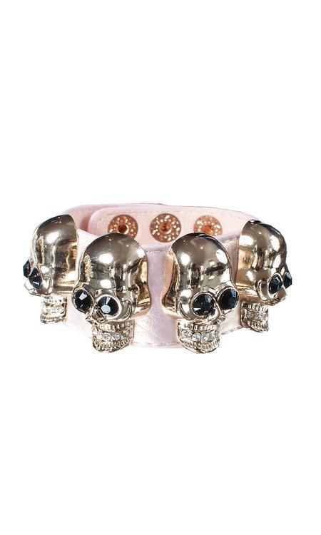 Big skull armband rosa