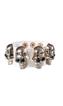 Big skull armband vit